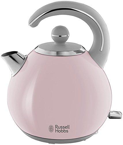 Russell Hobbs Wasserkocher Bubble Pink, 1,5l, 2300 Watt, abnehmbarer Deckel, herausnehmbarer Kalkfilter, Wasserstandsanzeige, retro, vintage Teekocher 24402-70