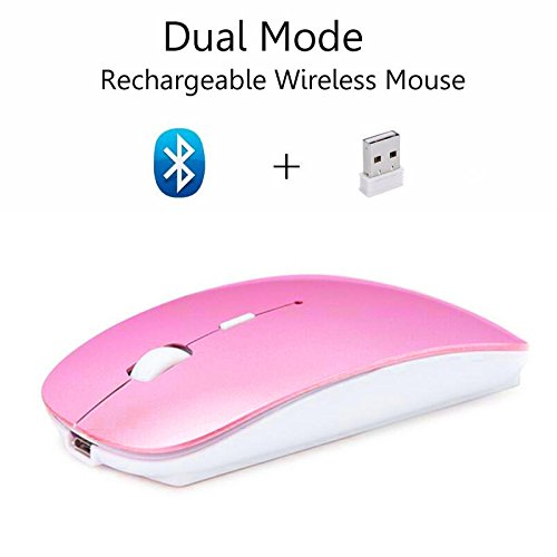 Cliry 2018 New Arrival Wireless 2.4Ghz + Bluetooth 4.0 Dual Mode Rechargeable Mouse 1600 DPI Ultra-thin Ergonomic Portable Optical Charging Best Qulity Mice (Pink)