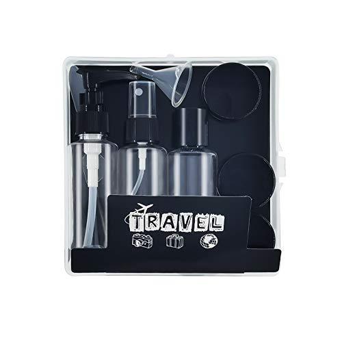 Caja cosmética Transparente,8 envases Impermeables (MAX.50ml),Set de Botellas para Avion Cosmetica Champú,Kit de líquidos Botellas Accesorios de Viaje para champús/lociones/cremas(Negro)