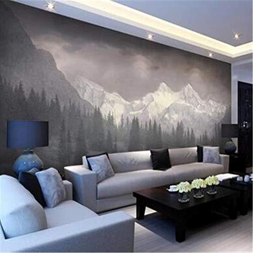 3D groot gebruikersgedefinieerd wallpaper wallpaper muurschildering 3D fotobehang Mural sneeuw bergen enorme pijnbos landschap muurschildering Mural decoratie, 350 cm * 245 cm