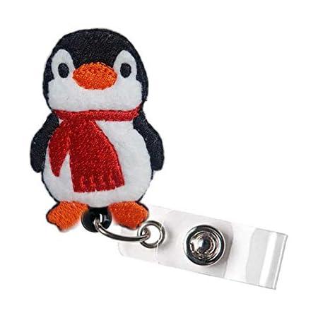Nurse Badge Reels Cute Badge Reel Felt Badge Holder Feltie Badge Pull Pretty Penguin Retractable ID Badge Clip BadgeBlooms
