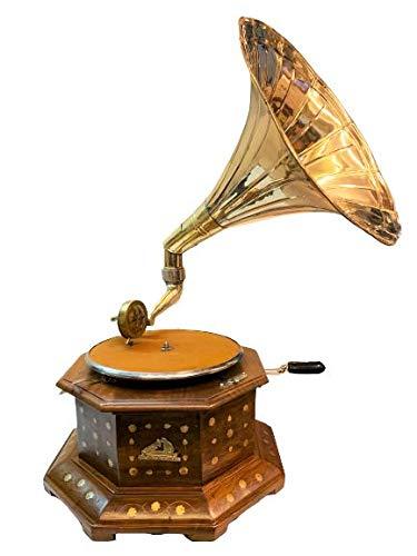 Antique Museum 80's Musical Box Six Corner Cabinet Wooden Art Desk Décor His Master Voice The Gramophone Co. Brass Horn Vintage Turntable Antique Machine Phonograph A3BG 022