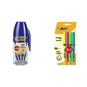 BIC Cristal Original bolígrafos punta media colores Surtidos, Blíster de 16+4 unidades + Highlighter Grip Marcadores…