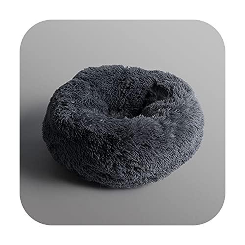 Pet bed Saco de dormir de felpa larga súper suave, para perro, redondo, gato, cálido, para invierno, para cachorro, cojín portátil, suministros para gato, color gris oscuro, 50 cm