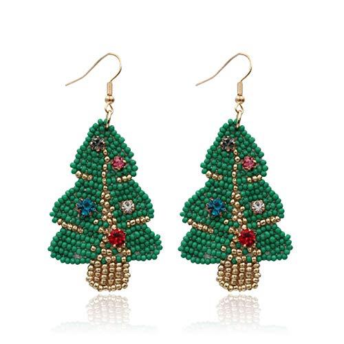 Handmade Christmas Beaded Earrings Bohemian Statement Christmas Tree Santa Claus Snowman Socks Beaded Drop Earrings Colorful Seed Beads Dangle Earrings for Women Party Jewelry-A