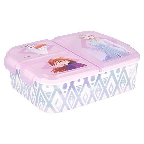 FROZEN - ELSA ANNA OLAF | Caja de Almuerzo con 3 Compartimentos - Fiambrera Infantil para colegio - lonchera para niños