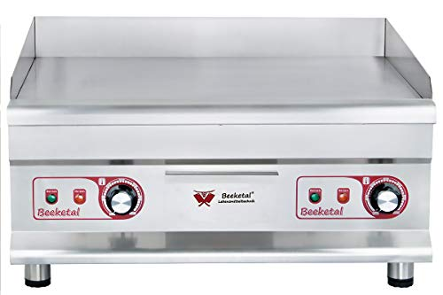 Beeketal 'BGP-5' Profi Gastro Grillplatte elektrisch mit glatter Grillfläche (59,5 x 42 cm) aus 12 mm dickem Gusseisen, 2 Zonen Temperatur separat und stufenlos regelbar je 50-300 °C (2 x 3200 Watt)