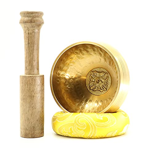 Conjunto de Cuenco Tibetano, fácil de Jugar, Hecho a Mano, Usado para la meditación y relajación de Yoga, incluidos mazos y Cojines,B