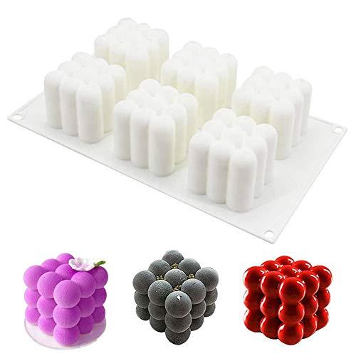 Vela Moldes, Bricolaje Velas Molde 3D Bola Cubo de Rubik de Artesanía Adornos Vela perfumadaSilicona para la Pasta de azúcar Bizcocho, Muffin, Pudín, Jabon, Pastel