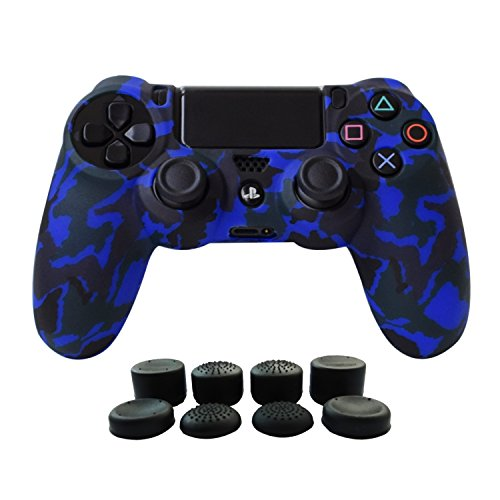 Hikfly Silicone Controller Cover Skin Protector Kits for PS4 /PS4 Slim/PS4 Pro Controllerwith 8 x FPS Pro Thumb Grip Caps