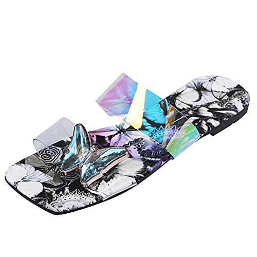 Square Toe Nude Flat Sandals Two Transparent Strap Lightweight Soft Sole with Butterfly Simple Beautiful Breathable Summer Strappy Sandals Fire and Safety Shoes(Black 8)