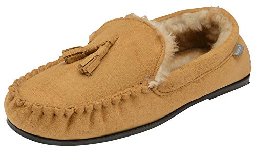 Dunlop Mens Duke Moccasin Slippers Loafers Faux Suede Soft Faux Fur Lining...