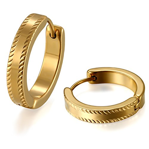 JewelryWe Schmuck Herren Damen Ohrringe, Autoreifen Design Poliert Creolen Ohrstecker Ohrschmuck, Edelstahl, Gold