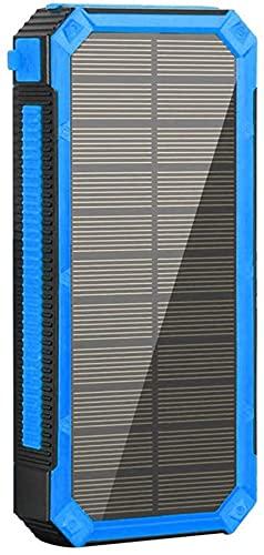 Fringe Trim Power Power Bank De Energía Solar Compacta Carga Rápida 20000mah Puerto USB Tipo C Puerto Cargador Portátil, para Camping De Viaje Al Aire Libre(Color:Azul)