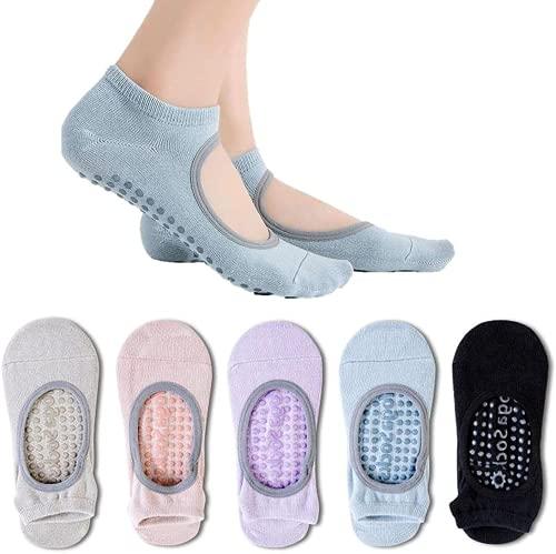 5 pares de calcetines de yoga para mujer, antideslizantes, agarre pegajoso, accesorios para pilates, yoga, barra, baile, ballet, entrenamiento descalzo, deportes fitness talla ES 34-39