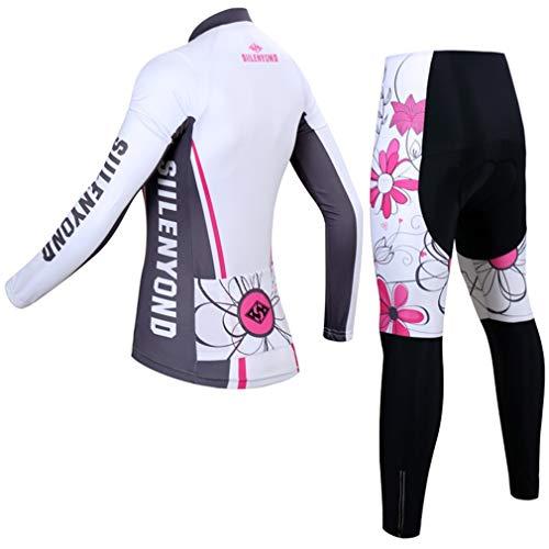 X-Labor Damen Radtrikot Set Fahrradbekleidung Fahrrad Langarm + Radhose mit Sitzpolster Herbst Winter Sportbekleidung - 2
