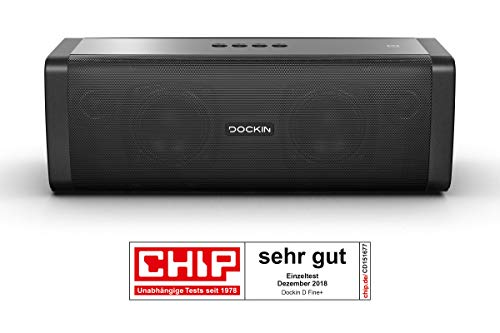 DOCKIN® D FINE+ Hi-Fi Bluetooth Lautsprecher 50 Watt aptX, starker Akku (9.000 mAh) 14h Laufzeit, mobiler tragbarer Speaker, Wireless, Outdoor IP55