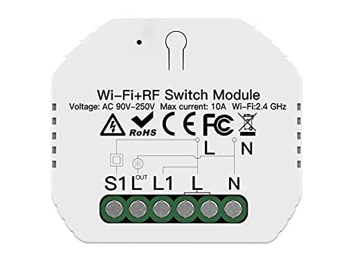 LEDLUX SH104 - Mini interruptor wifi inteligente, módulo inteligente, 10 A, 220 V, función con botón N.O. + mando a distancia RF 433, compatible con Amazon Alexa y Google Home