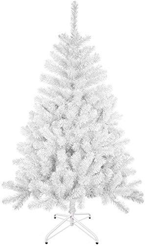 TIENDA EURASIA® Árbol de Navidad - Árboles de Navidad Artificiales - Soporte de Pie Plástico - Medidas 90-210 cm - Colores Verde y Blanco - Fácil Montaje (Blanco, 120 cm)
