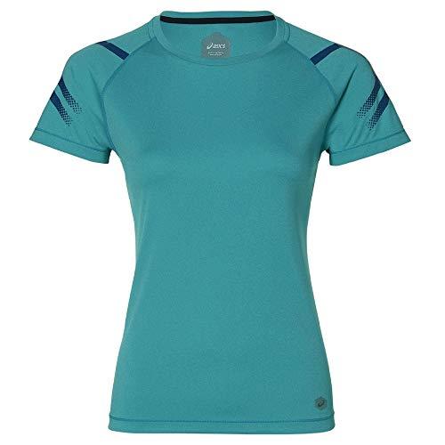 ASICS Icon Camiseta Cuello Redondo Manga Corta Poliéster - Camisas y Camisetas (Camiseta, Adulto, Femenino, Turquesa, Monótono, XS)