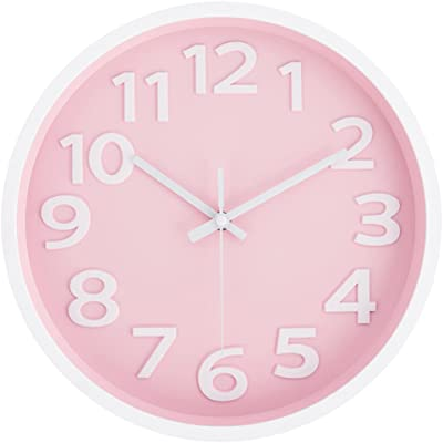 Rysunle 12 Inch Modern Wall Clock, Silent Non-Ticking Battery Operated Quartz Decorative Wall Clocks for Living Room Office Kitchen Bedroom, 3D Numbers Display Easy to Read. (Pink)