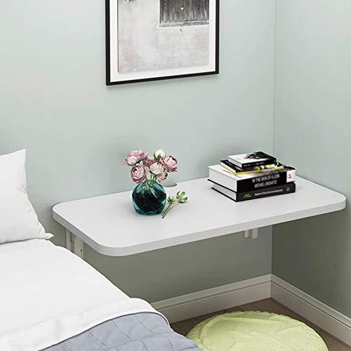 FWZJ Mesa Plegable de Pared Escritorio Plegable Blanco con Orificio para roscar Mesa de Cocina de Madera Plegable Escritorio de Pared con estantes 24 x 20 Pulgadas / 60x50cm / 18 tamaños