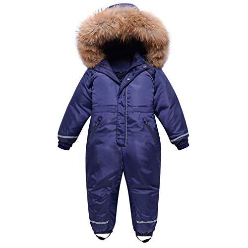 Tuta da Neve per Bambnini, Tuta da Sci Piumino con Cappuccio Impermeabile Tuta Overall Jumpsuit Manica Lunga Inverno Outfit 2-3 Anni