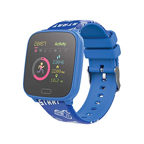 FOREVER GO JW-100 - Reloj inteligente para niños con pasos, hora, fecha, gestión de música, alarma, color azul