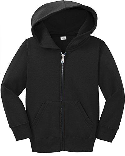 Joe's USA Infant Full Zip Hoodies - Soft and Cozy Hooded Sweatshirts, Jet Black, 12M