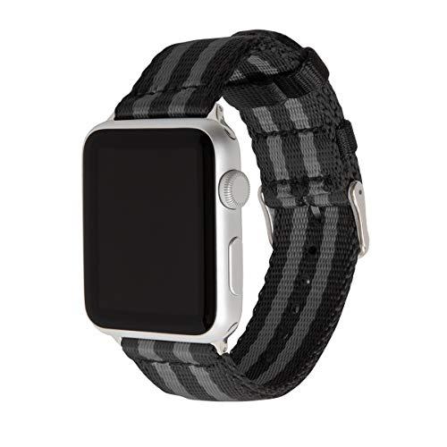 Archer Watch Straps   Sicherheitsgurt Stil gewebtes Nylon Armband für Apple Watch   Uhrenarmband für Herren und Damen   Schwarz und Grau (James Bond)/Edelstahl, 42/44mm