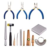 PH PandaHall Set of 13 Jewelry Tool, Metal Mandrel Finger Sizing Measuring Stick,...