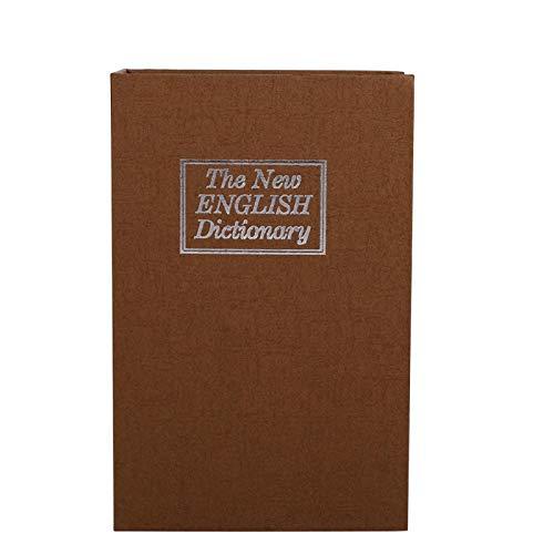 Caja de seguridad, 1pc Diccionario Cerradura de seguridad Caja de casillero de libro secreto seguro para joyas(Café)