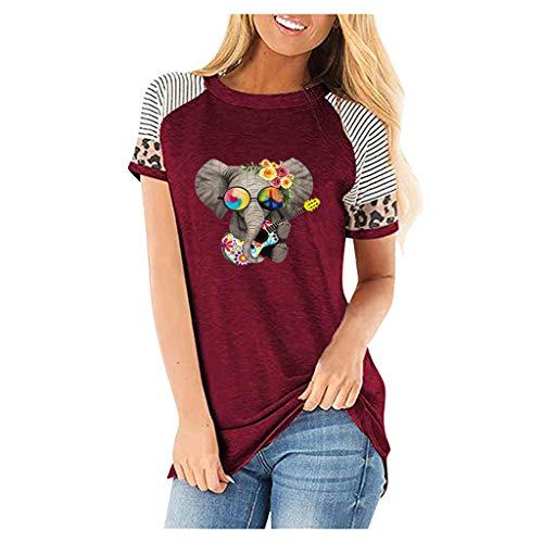 JUTOO Damen Casual Leopard Kurzarm O-Ausschnitt gedruckt Tops T-Shirt(Wein,XXL)