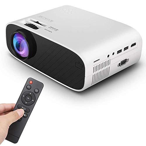 OHHG Mini Caja proyector, proyector LED, 480P 3D Mini proyectores Video portátiles 1500 lúmenes Soporte proyector Cine casa HDMI, VGA, TF, AV, USB Compatible TV Stick, PS4, teléfono Inteligente, PC
