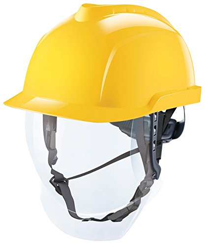 MSA V-Gard 950 Helm mit Visier EN397 mit Drehradregelung FasTrack - ATEX Bauarbeiterhelm Elektrikerhelm Arbeitshelm Schutzhelm, Farbe: gelb
