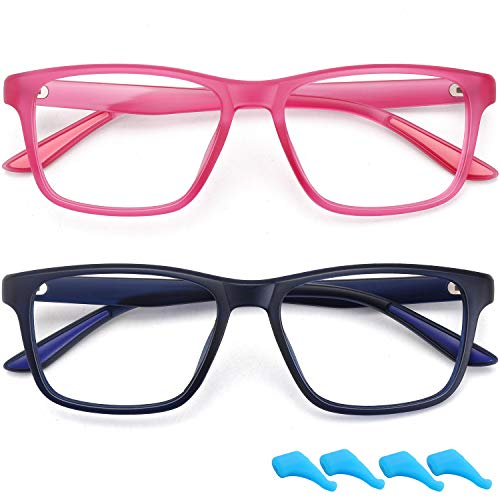 Kids Blue Light Blocking Glasses for Boys Girls Computer Glasses Gaming Screen Glasses Frame Eyeglasses Anti Eyestrain Filter UV Ray 2 Pack Children Age 4 to 10 (Dark Blue+Rose Red)