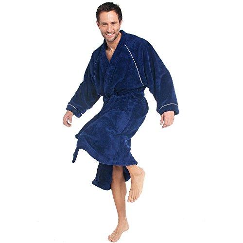 CelinaTex WellSoft Bademantel Kimono Damen Herren XXL blau Mikrofaser Morgenmantel Coral-Fleece Saunamantel