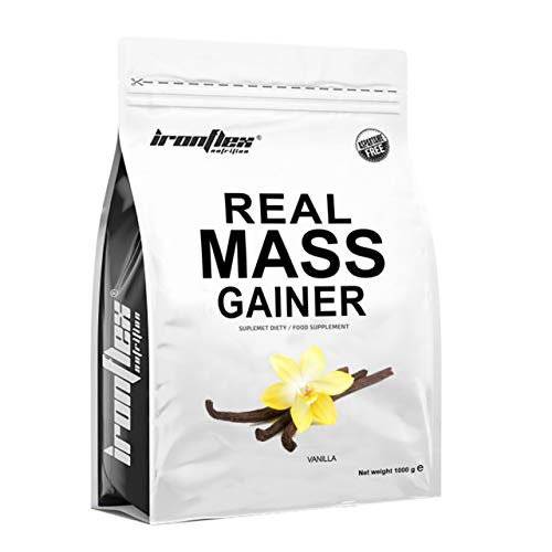 IronFlex Real Mass Gainer Package of 1 x 1000g - Mass Gainer - Carbohydrates - Concentrate and Whey Protein Isolate - Micellar Casein - Muscle Growth - Amino Acids (Vanilla Ice Cream)