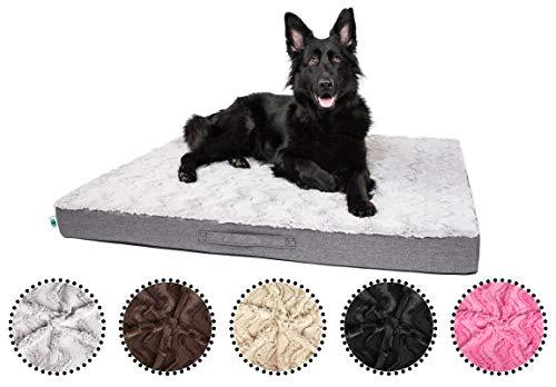 CopcoPet - Hundematte Lucky Hundematratze orthopädisch, rutschfest und waschbar, Hundebett kuschelig aus flauschigem Plüsch Fellimitat-Stoff Hundekissen Schlafplatz 100 x 80 x 10 cm Beige