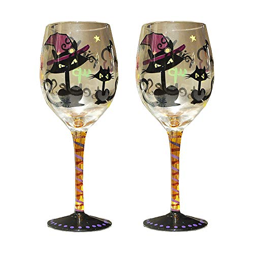 Sungmor Lot de 2 verres à vin artisanaux peints à la main - Motif chat démon - 350 ml