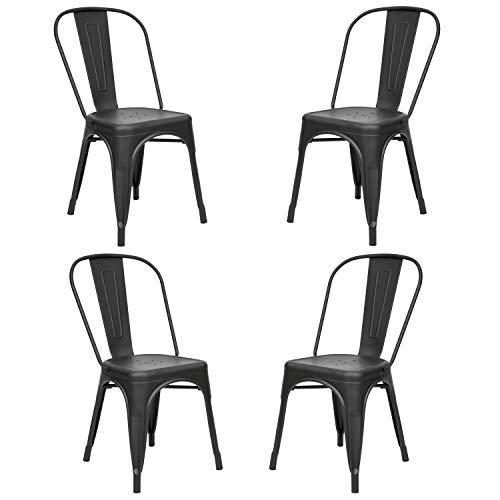 Vaukura Silla Oliix (Pack 4) - Silla Industrial Metálica Mate (Negro)