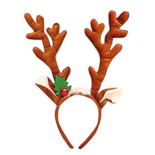 thematys Rentier-Geweih Haarreif - Weihnachts-Accessoire für Erwachsene & Kinder in 2 perfekt für Weihnachten (Hellbraun)