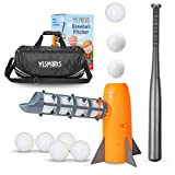 YESMARKS Kids Auto Baseball Pitching Machine Outdoor Toy Set - Training Equipment & Practice Toys for Children - Operated Automatic Pitcher, Collapsible Plastic Bat, 10 PP Baseballs, Sports Bag