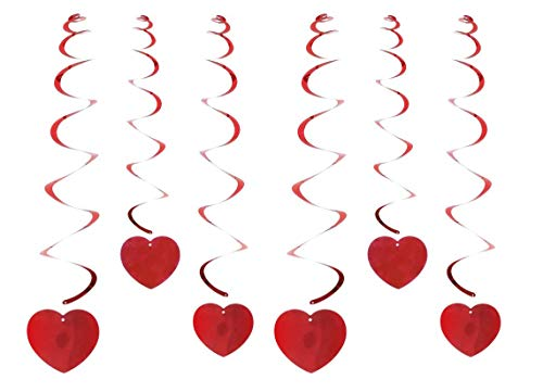 Spring Country Valentine's Day Hanging Heart Swirls Decorations(6 PCs), Heart Swirls for Home Ceiling Window Wall Decor Great Anniversary Wedding Birthday Bridal Shower Party Supplies
