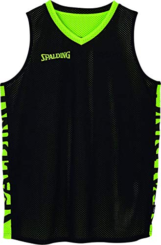 Spalding Essential Reversible Shirt Camiseta, Hombre, Black/Fluo Yellow, L