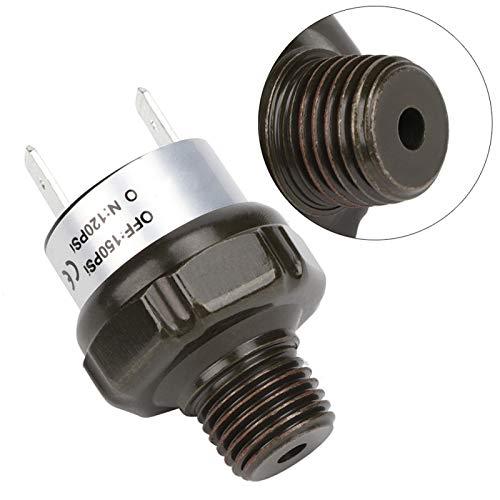 Interruptor de compresor de aire de fácil operación, interruptor de presión, interruptor automático de compresor de aire de acero inoxidable negro para automóvil, 1/4'NPT para el hogar del