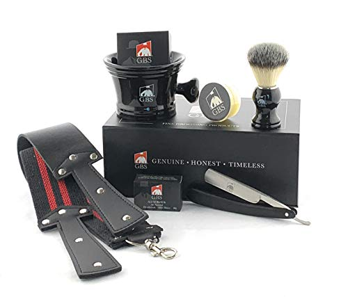 GBS'Shave Ready' Wood Straight Razor + Complete Beard/Shaving Set - Gift Box - Mug, Natural Soap, Brush, Alum block, Strop and Paste! For the Ultimate Old Fashioned Wet Shaving Experience