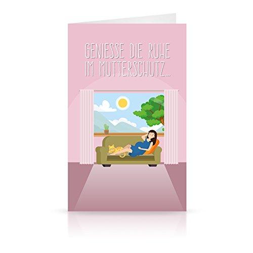 Witzige Abschiedskarte zum Mutterschutz im Maxi-Format (lila) - tolles Abschiedsgeschenk für die schwangere Kollegin inkl. Kuvert/Umschlag