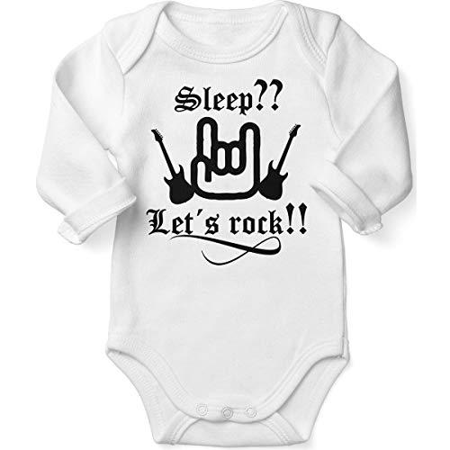 Mikalino Babybody mit Spruch für Jungen Mädchen Unisex Langarm Sleep let s Rock   handbedruckt in Deutschland   Handmade with Love, Farbe:Weiss, Grösse:62