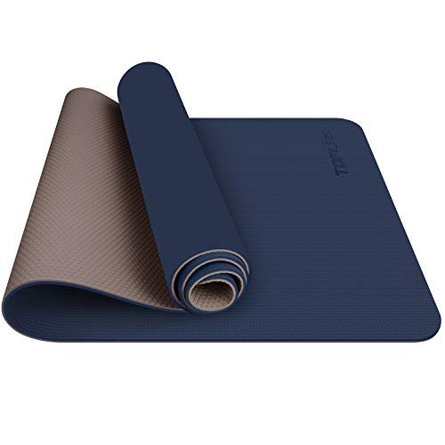 TOPLUS Tapis de Yoga, Tapis Gym - en TPE matériaux Recyclable, Ultra antidérapant et Durable, 183x61x0.6 cm, Non Toxique, Tapis de Sol pour Sport, Fitness (Bleu Foncé)